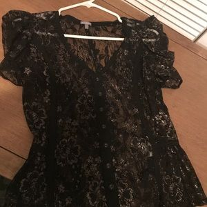 Charlotte Russe Black and Gold Lace Shirt Size M